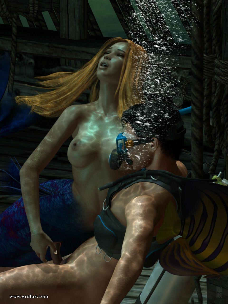С русалкой видео и человеком секс