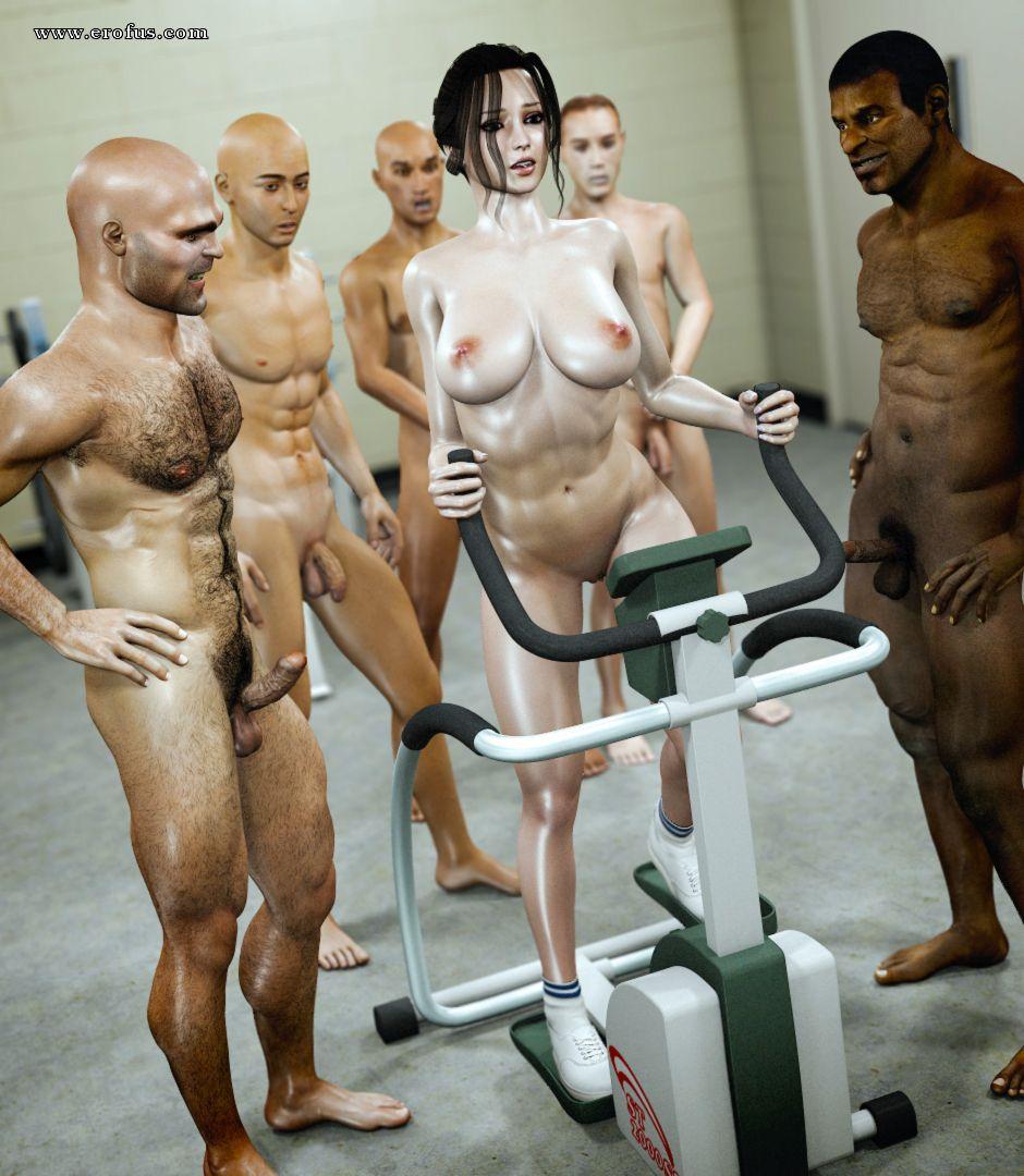Gym shower group sex